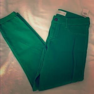 Abercrombie and Fitch Green Suede Jeans